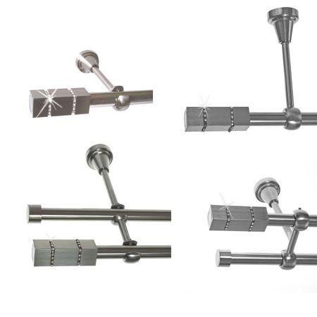 Gardinenstange Edelstahl Rohr VA 16mm Wand- Deckenträger o. Zusatz Innenlauf E27