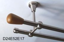 Gardinenstange Edelstahl Rohr VA 16mm Wand- Deckenträger o. Zusatz Innenlauf E52