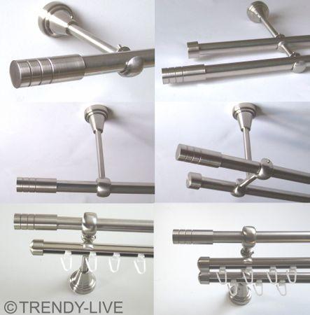 Gardinenstange Edelstahl Rohr VA 16mm Wand- Deckenträger o. Zusatz Innenlauf E28