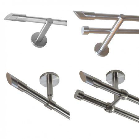 Gardinenstange Edelstahl Rohr VA 16mm Wand- Deckenträger schräge Spitze E13