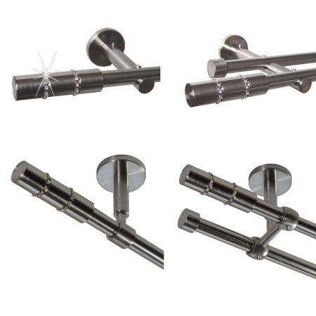Gardinenstange Edelstahl Rohr VA 16mm Wand- Deckenträger Kristall Strass E26