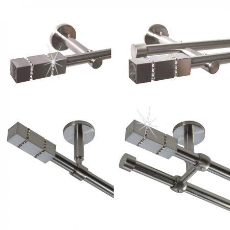 Gardinenstange Edelstahl Rohr VA 16mm Wand- Deckenträger Modern Kristall E27