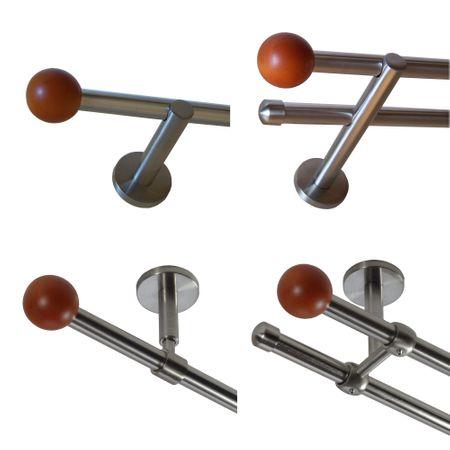 Gardinenstange Edelstahl Rohr VA 16mm Wand- Deckenträger Modern Holzkugel E50