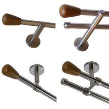 Gardinenstange Edelstahl Rohr VA 16mm Wand- Deckenträger Modern Holz Knauf E52
