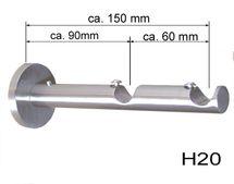 Träger 16 mm Gardinenstange Edelstahl look oder Verlängerung H10 H20 D11 D21