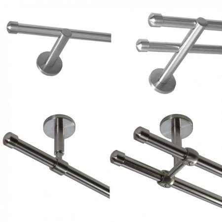 Gardinenstange Edelstahl look Metall 16mm Wand- Deckenträger Modern Kappe E17