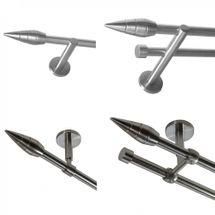 Gardinenstange Edelstahl look Metall 16mm Wand- Deckenträger Modern Spitze E18