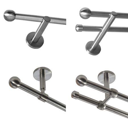 Gardinenstange Edelstahl look Metall 16mm Wand- Deckenträger Modern Kugel E22