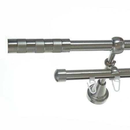 Rohr + Innenlauf Gardinenstange Edelstahl Look Ø 16mm zur Wandbefestigung 2-läufig Zylinder, H14 E12 + B16I Länge wählbar