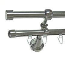 Rohr + Innenlauf Gardinenstange Edelstahl Look Ø 16mm zur Wandbefestigung 2-läufig Kappe, H14 E16 + B16I Länge wählbar