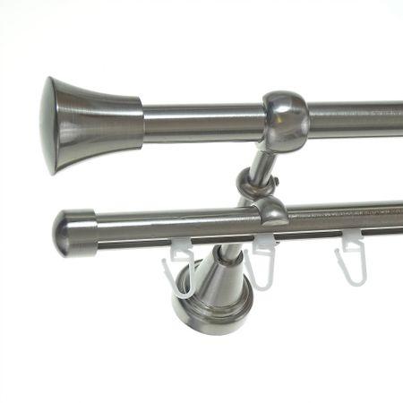 Rohr + Innenlauf Gardinenstange Edelstahl Look Ø 16mm zur Wandbefestigung 2-läufig Knauf, H14 E19 + B16I Länge wählbar