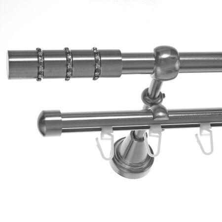Rohr + Innenlauf Gardinenstange Edelstahl Look Ø 16mm zur Wandbefestigung 2-läufig Kristall, H14 E25 + B16I Länge wählbar