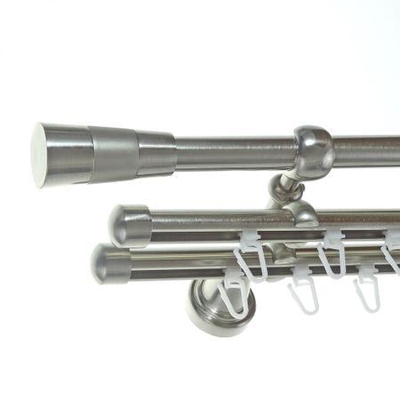 Rohr + Innenlauf Gardinenstange Edelstahl Look Ø 16mm zur Wandbefestigung 3-läufig Kegel Knauf, H14 E11 + 2xB16I Länge wählbar