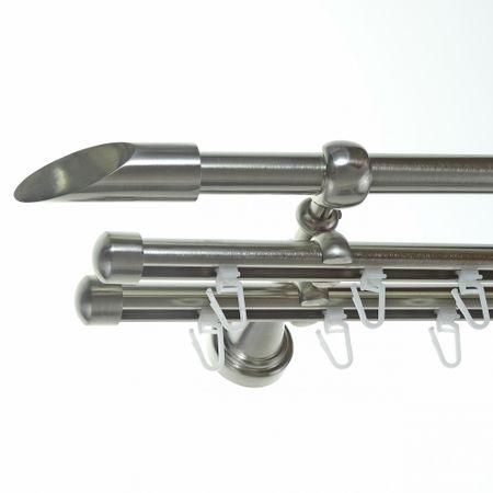 Rohr + Innenlauf Gardinenstange Edelstahl Look Ø 16mm zur Wandbefestigung 3-läufig Schräge, H14 E15 + 2xB16I Länge wählbar