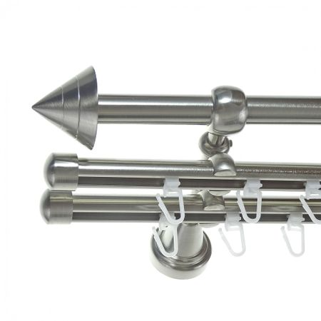 Rohr + Innenlauf Gardinenstange Edelstahl Look Ø 16mm zur Wandbefestigung 3-läufig Spitze, H14 E21 + 2xB16I Länge wählbar