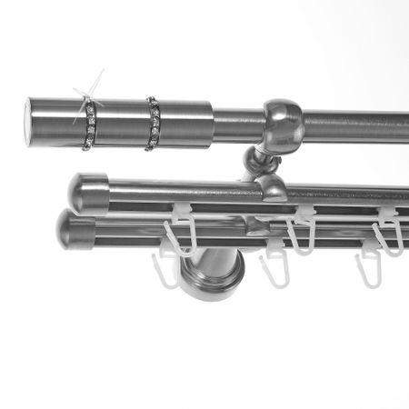Rohr + Innenlauf Gardinenstange Edelstahl Look Ø 16mm zur Wandbefestigung 3-läufig Kristall, H14 E26 + 2xB16I Länge wählbar