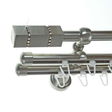 Rohr + Innenlauf Gardinenstange Edelstahl Look Ø 16mm zur Wandbefestigung 3-läufig Kristall, H14 E27 + 2xB16I Länge wählbar
