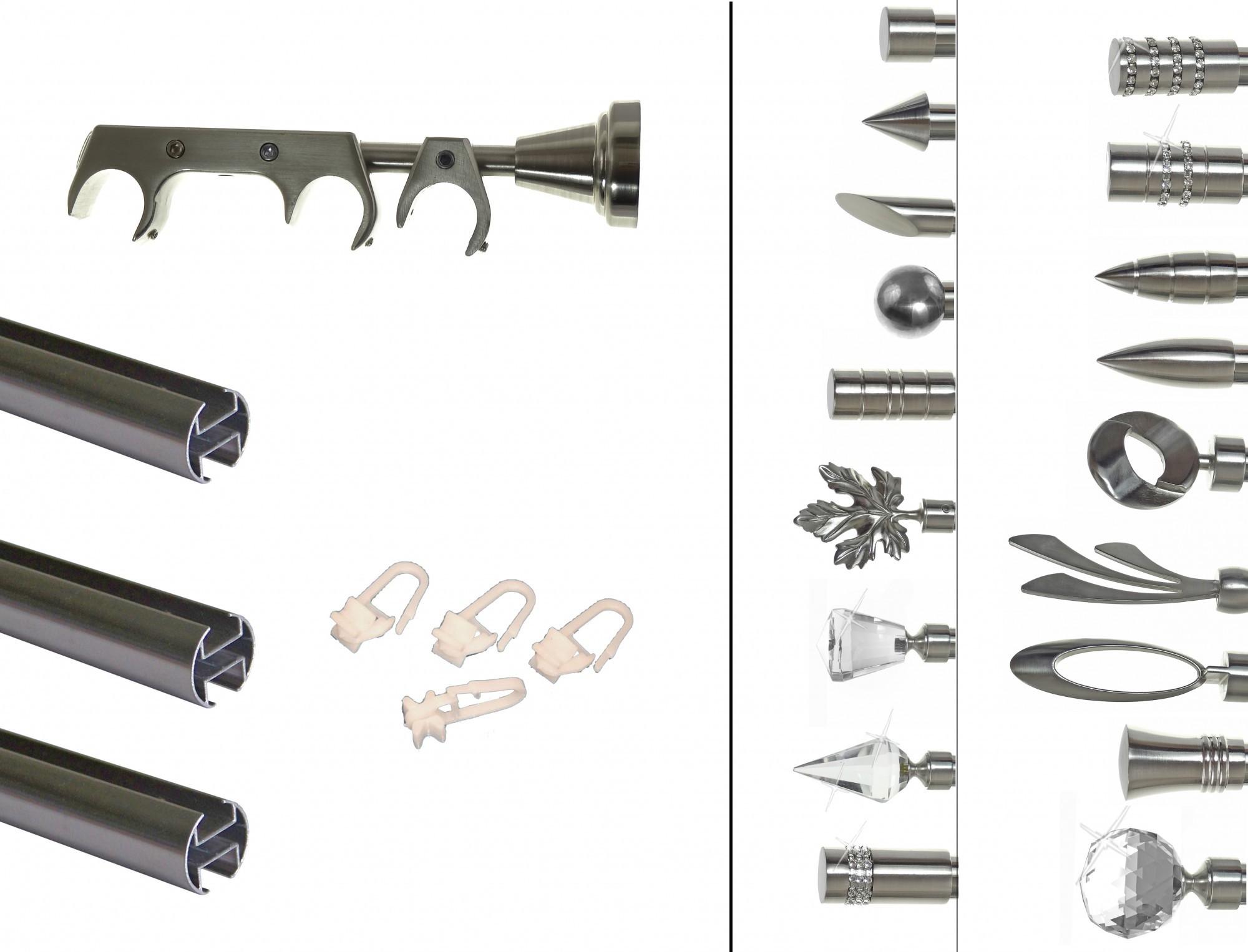 Innenlauf Edelstahl Look Gardinenstange Dm 20mm 3 Läufig H60ii 1xb20i Basit