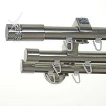 Innenlauf Edelstahl Look Gardinenstange dm 20mm 3 läufig H60II+ 1xB20I BASIT