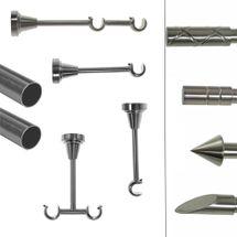BASIT Gardinenstange Edelstahl Look dm 19mm Metall 1 oder 2 Lauf Modell wählbar