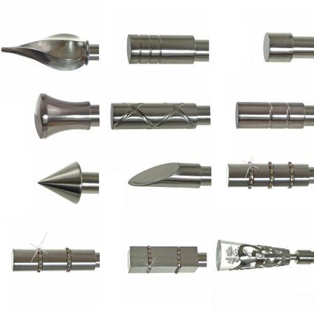 Endstück für 19mm Gardinenstangen Edelstahl Look Kappe Kristall Designs wählbar