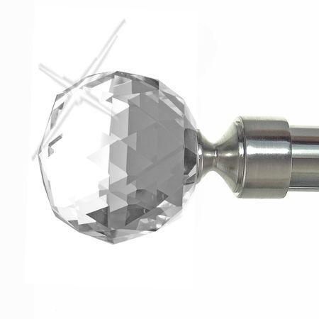 Endstück für 20mm Gardinenstangen Edelstahl Look Kappe Disco Kristallkugel E87