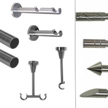 BASIT Gardinenstange modern Edelstahl Look Metall modern dm 19mm 1 und 2 lauf