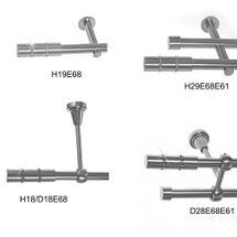 BASIT Gardinenstange Edelstahl Look Metall dm 19mm 1 und 2 läufig auch Kristall