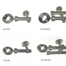 BASIT Gardinenstange Edelstahl Look Optik Metall modern dm 20mm Stilgarnitur Set