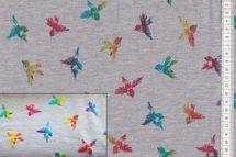 Jersey SHINY FOIL BIRDS - Vögel farbig glänzend auf grau   001