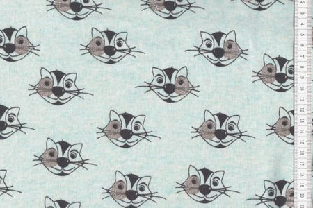 Sweat Jogging - Cat Glitter - Katze mit Glitzer auf mint angraut meliert – Bild 2