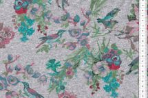 """Sommersweat grün/pink """"Blumen und Vögel"""" auf grau melange   001"""