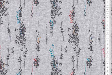 Sommersweat Lavendel schwarz mit bunten glitzer Print auf grau