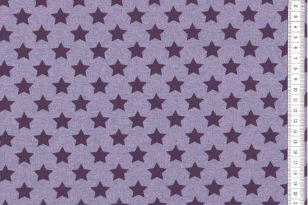 Sommersweat Sterne flieder - lila- violett meliert