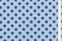 Sommersweat Sterne - blau - navy meliert  001