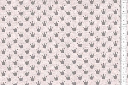 Sommersweat Krönchen grau auf schlamm meliert   – Bild 1