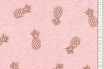 Sweat Glitzer Ananas in Gold Jogging - Stoff angraut rosa - lachs meliert  001