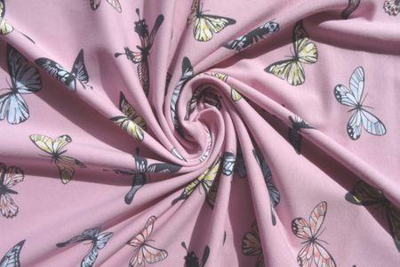 Jersey Stoff Butterfly Schmetterlinge auf rosa – Bild 2