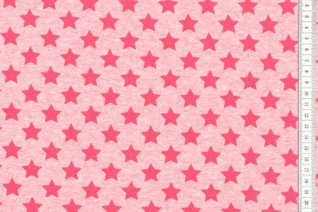 Sommersweat Sterne - rot auf pink meliert – Bild 1