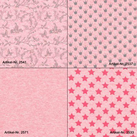 Sommersweat Sterne - rot auf pink meliert – Bild 2