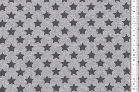 Sommersweat Sterne - schwarz auf grau meliert