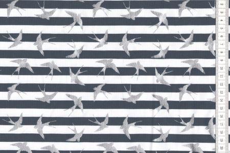 Jersey blau - navy mit weiss gestreift mit metallisch glänzenden Vögeln  – Bild 1