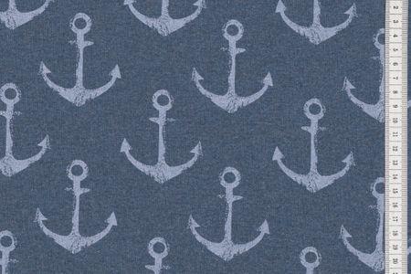 Sommersweat Anker weiss auf blau navy