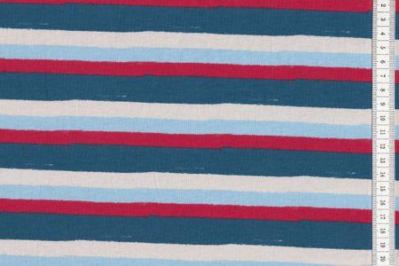 Baumwoll - Jersey quer gestreift beige blau rot navy in breiten oder schmalen Streifen – Bild 2