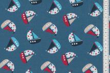 Baumwoll - Jersey mit Booten  auf blau navy 001