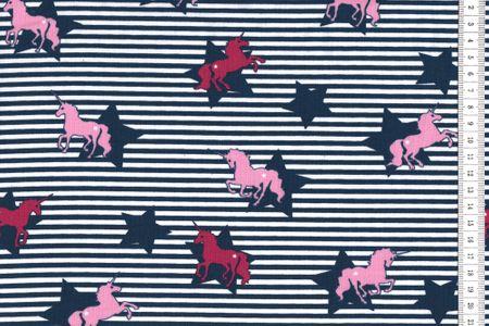 Baumwolljersey Einhorn rosa und Sterne blau auf blau weiss gestreift
