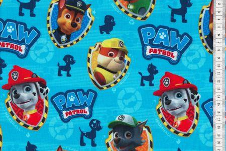 Baumwoll Jersey Lizenzstoff PAW Patrol Hintergrund gestreift blau – Bild 1
