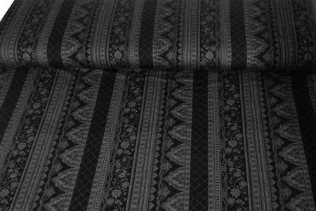 Viskosejersey Ornamente anthrazit auf schwarzem Untergrund retro