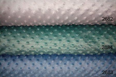 Minky Fleece mit Noppen 3 D Flausch  in blau aqua farben