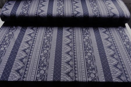 Viskosejersey Ornamente in blau navy und grau – Bild 1